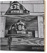 Fireman - Fire Helmets Wood Print