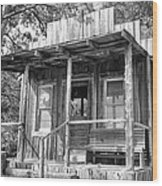 Fireman Cottage B And W Wood Print