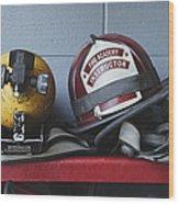 Fireman Helmets And Gear Wood Print
