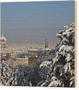 Firenze Under The Snow Wood Print