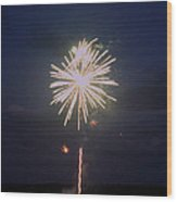 Firework Explosion Wood Print by Robbie Basquez