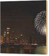 Fireworks Against Chicago Skyline Wood Print