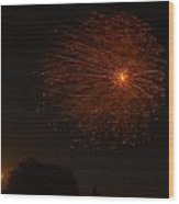 Fireworks And Wildfire Moon Wood Print