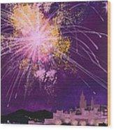 Fireworks In Malta Wood Print
