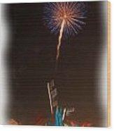 Fireworks In Oil Wood Print