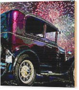 Fireworks In The Ford Wood Print by Suni Roveto