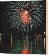 Fireworks Of Green And Red Wood Print