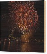 Fireworks On River Thames Wood Print