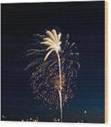 Fireworks Over Lake Washington Wood Print by David Rische