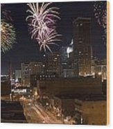 Fireworks Over The City Wood Print