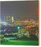 Fireworks Over The City Skyline Wood Print