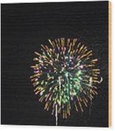 Fireworks With Moon IIi Fm3p Wood Print