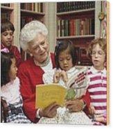 First Lady Barbara Bush Reads Wood Print