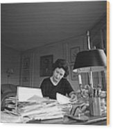 First Lady, Lady Bird Johnson, Working Wood Print by Everett