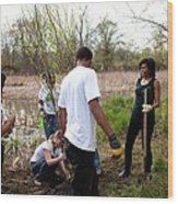 First Lady Michelle Obama Helps Plant Wood Print by Everett