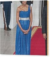 First Lady Michelle Obama Wearing Wood Print