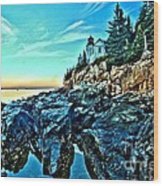 First Light At Bass Harbor Wood Print