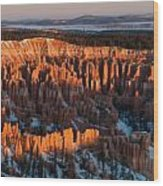First Light At Bryce Canyon Wood Print