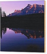 First Light On Mount Rundle Wood Print