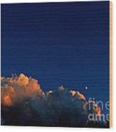 First Quarter-waxing Crescent Moon Wood Print