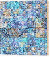 First Time Geometric Blue Wood Print
