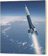 First V-2 Rocket Launch, Artwork Wood Print