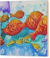 Fish Abstract Painting Wood Print