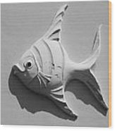 Fish And Shadow Face In Black And White Wood Print