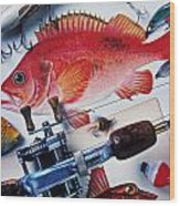Fish Bookplates And Tackle Wood Print