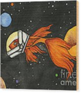 Fish In Space Wood Print