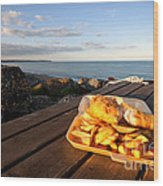 Fish 'n' Chips By The Beach Wood Print by Rob Hawkins