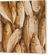 Fish Pattern On Wood Wood Print