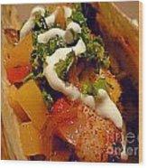 Fish Taco With Mango Salsa Wood Print