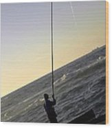 Fisherman Along The Corniche Wood Print
