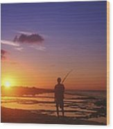Fisherman At Sunset Wood Print