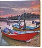 Fisherman Boats Wood Print