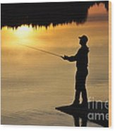 Fisherman Wood Print by Conny Sjostrom