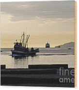 Fisherman Home Returning To Port From The Inside Passage Vancouver Bc Canada Wood Print by Andy Smy