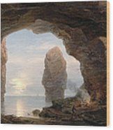 Fisherman In A Grotto Helgoland Wood Print by Christian Ernst Bernhard Morgenstern