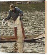 Fisherman Mekong 2 Wood Print