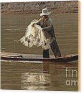 Fisherman Mekong 3 Wood Print