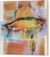 Fisherman With Fish Wood Print