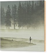 Fishermen In The Morning Mist Wood Print