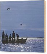 Fishermen Pulling Fishing Nets On Small Wood Print by Axiom Photographic