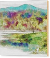 Fishing - Watson Lake Wood Print
