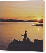 Fishing At Sunset, Roaring Water Bay Wood Print
