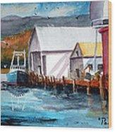 Fishing Boat And Dock Watercolor Wood Print