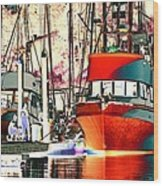 Fishing Boat In Harbor Wood Print