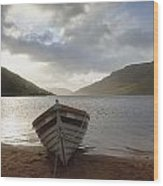 Fishing Boat Moored On Lough Nafooey Wood Print