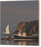 Fishing Boat Near An Iceberg, Durrell Wood Print